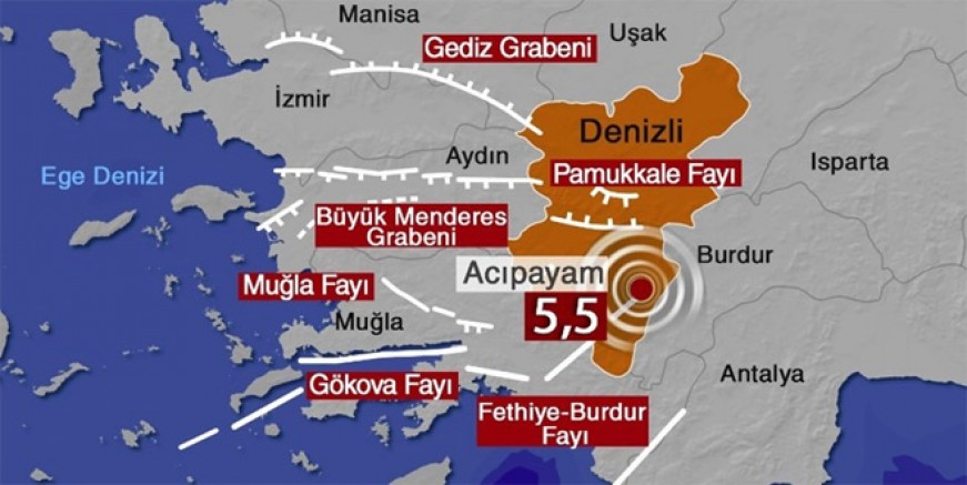 Denizli'de 5.5 büyüklüğünde deprem!
