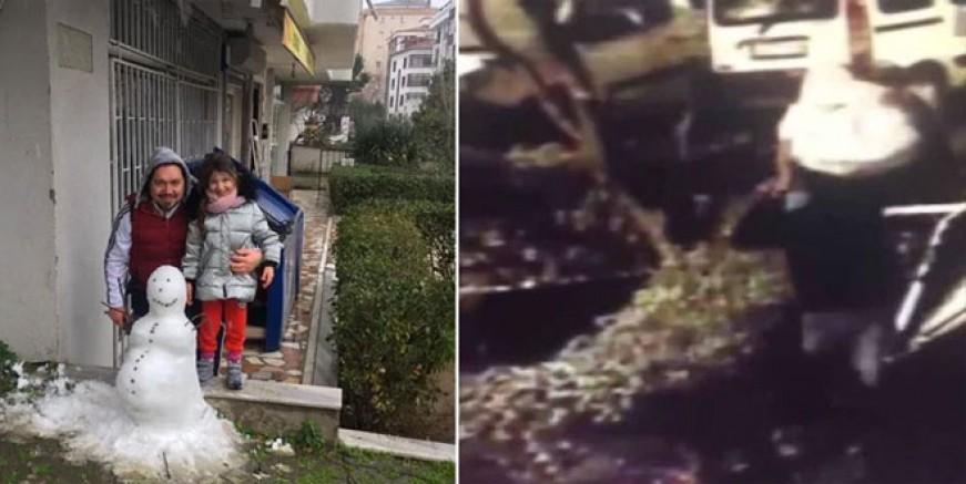 Kartal'da pes dedirten hırsızlık; Kardan adam çalındı